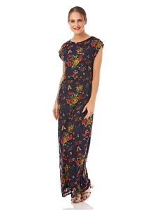 893cd964ea7 Mela London Printed Floral Lace Maxi Dress