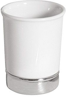 Interdesign York Toothbrush Holder Stand For The Bathroom White And Chrome