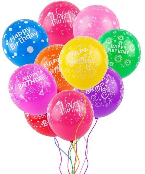 25pcs 12 Mixed Color Printed Latex Happy Birthday Balloons Celebration Party Wedding