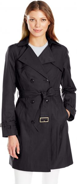 Cole Haan Women's Double Breasted Trench Coat, Black, XS