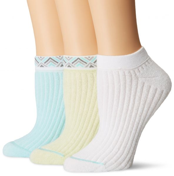 HUE Women's Green Repreve Rib Terry No Show Socks, 3 Pair Pack, Sea Breeze  Pack, One Size