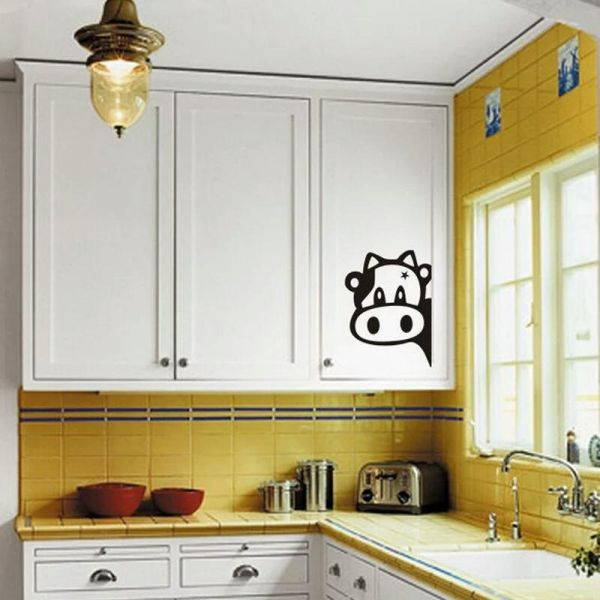 Bon Cute Cow Fridge Sticker Kitchen Cabinet Decoration Cartoon Art Decor Decals  For Door Window