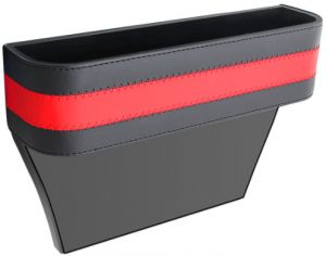 Premium Leather Car Seat Gap Filler Side Console Slit Catcher Storage Box Pad Pocket Red