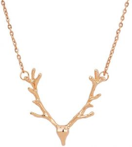 Women Jewelry Elk Deer Antlers Pendant Necklace gift for women girl Jewelry Classic Necklaces,Gold Color