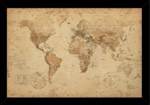 Map world usa and canada international business publications usa world map antique poster in a black wood frame 24x36 24618 psa033313 gumiabroncs Image collections
