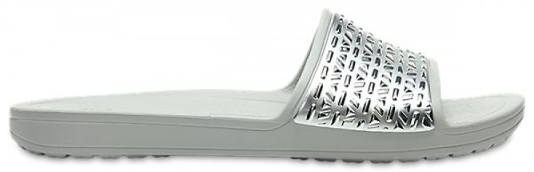 b1a3f7f1c1bfb Crocs 205130 Sloane Graphic Slides For Women - Pearl White Silver. by Crocs