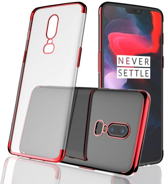 los angeles b0898 7df33 OnePlus 6 Case TPU Silicone Transparent Ultra Thin Shockproof Anti-scratch  Frame Bumper Crystal Clear Back Protective Slim Cover for OnePlus 6 Red