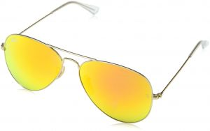 b71a173a5e Ray-Ban AVIATOR LARGE METAL - MATTE GOLD Frame CRY.GREEN MIRROR MULTIL.GREEN  Lenses 55mm Non-Polarized