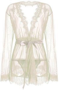 d8218baba IngerT Women Nightwear Solid Color Sash Decor Transparent V Neck Long  Sleeves Sexy Robe with Thong