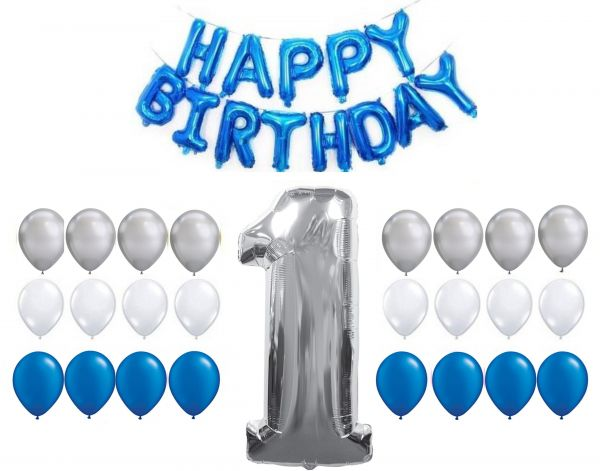 First Birthday Decoration 24 Balloons Blue White SIlver BLUE