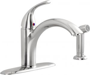 American Standard 6404141.002 Monterrey 8 Widespread Tubular Swivel Spout Kitchen Faucet with Side Sprayer Polished Chrome