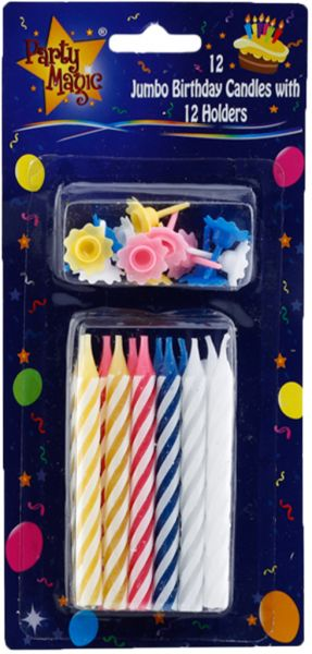 Party Magic Jumbo Birthday Candle With Holder Multi Color