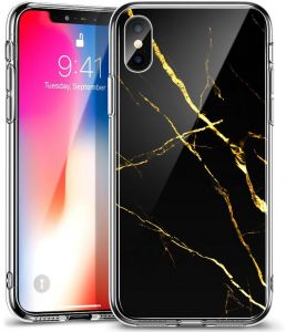 Apple iPhone X ESR (2018) Mimic Series 9H Tempered Glass Anti-Scratchwith Soft Silicone Bumper Back Cover Case - Marble Black Gold