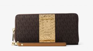 b7bd6a4f65270 Michael Kors Center Stripe Travel Continental ZIP Around Wallet - Brown Pale  Gold