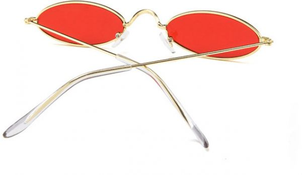 21205c6858 Vintage Oval Sunglasses Small Metal Frames Designer Gothic Glasses Red