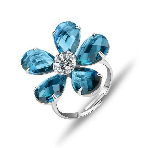 560ad9fc3178 JOUDOO Woman Blue Zircon Flower Ring Adjustable Size for Girls Teens  (platinum-plated)