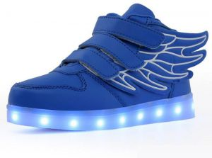 Color change fashion LED light shoes for fun party shoes rechargable LED Sneakers USB Charging shoes with wings blue color