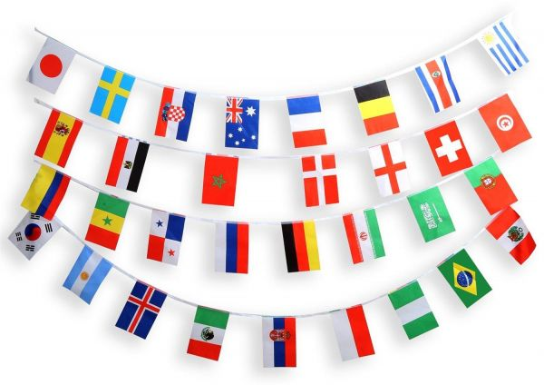 7e5069427297 World Cup 2018 Russia String Flags Set of 32 Countries Flags Banners  14x21cm Long 9M