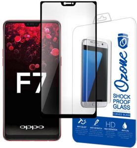 Ozone Oppo F7 Tempered Glass 0.26mm Full Cover Shock Proof Screen Protector - Black