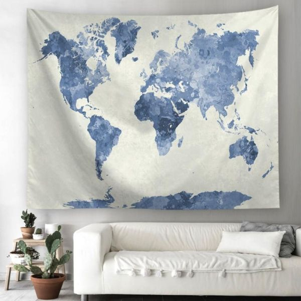 Blue Watercolor World Map Tapestry Abstract Splatter Painting