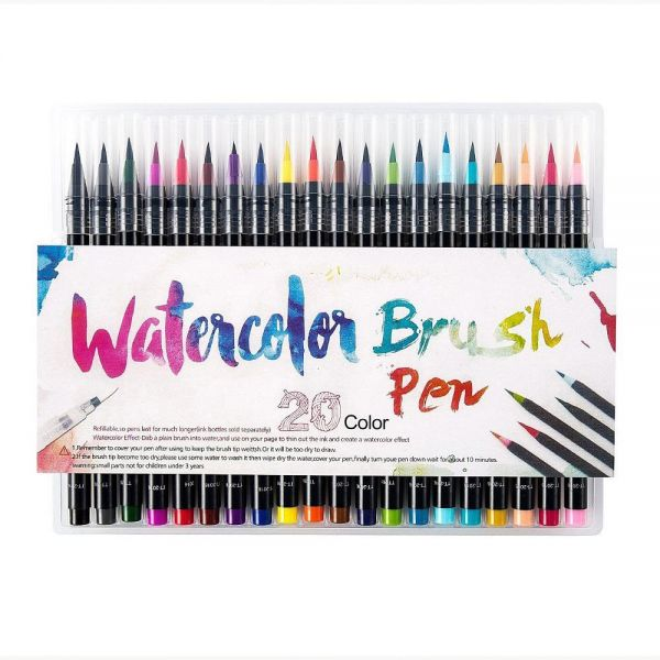 802da0a621dd 20 Pieces Color Brush Pens Set Watercolor Brush Pen Color Markers for  Painting Cartoon Sketch Calligraphy Drawing Manga Brush