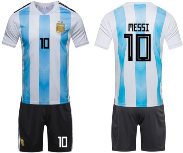 fe5a2dfa2 2018 Russia World Cup Argentine National Team Short-sleeved Soccer Wear Set  Messi Fan Number 10