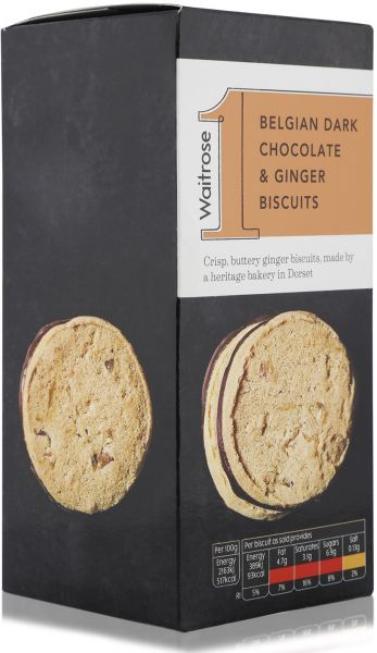 Waitrose 1 Belgian Dark Chocolate & Ginger Biscuits - 125 gm