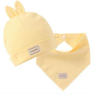 6c522da125f Newborn baby hat infant rabbit shape cap baby cotton hat and saliva towel