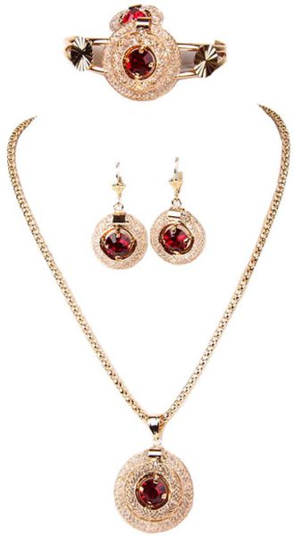 JewelryC A1062 Diamond Crystal Pendant Necklace Earrings Jewelry Set for girls