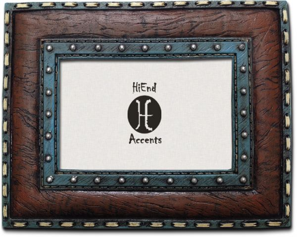 HiEnd Accents Western Turquoise Frame with Stitching Leather Insert ...