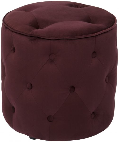 Ave Six Curves Tufted Round Ottoman With Espresso Finish Solid Wood Legs Port Velvet Fabric