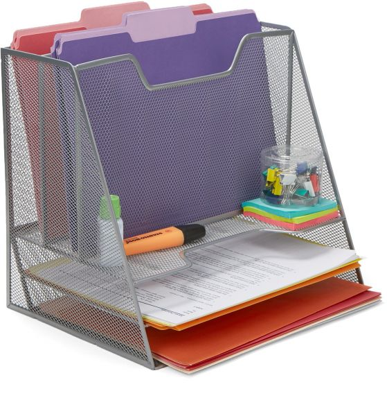 Mind Reader Mesh Desk Organizer 5 Trays Desktop Doent Letter Tray For Folders Mail Stationary Accessories Silver