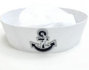 73998de328681 Adults and kids sailor anchor boat costume hat cap with silver black  graphic patch