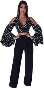6f5b2449399e Black   White Off Shoulder Clothing Set For Women