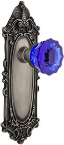 Nostalgic Warehouse 726710 New York Plate Passage Crystal Black Glass Door Knob in Antique Pewter 2.75