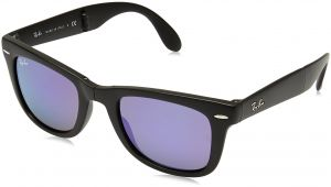 a3f73fff6 Ray-Ban FOLDING WAYFARER - MATTE BLACK Frame GREY MIRROR LILAC Lenses 50mm  Non-Polarized