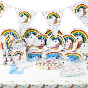 Unicorn Birthday Party Supplies Decorations For Kids Theme Tablecloth Plates Banner Napkins Hats Gift Bag More Favors