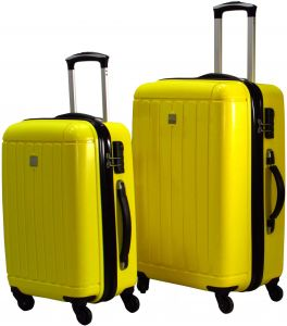 fea1fb7dd39d HighFlyer Marco (5303) Series 2 Pc 20-24 Inch Trolley Hard Luggage Bag Set - Yellow