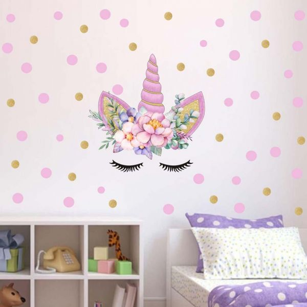 50cm x 35cm pvc cartoon diy color wall stickers pink unicorn home