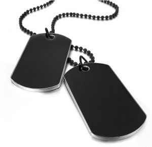 Army Style Double Dog Tag 2 pcs Pendant Necklace, Black Chain.