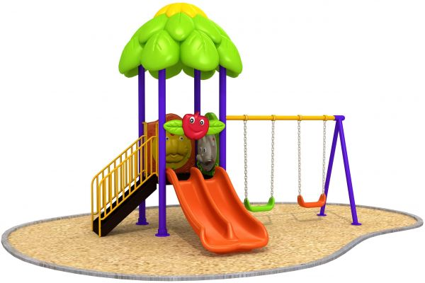 Rainbowtoy Playground 4 In 1 Set With Double Slide 2 Swing Seat