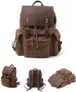 2106581d5e47 Waterproof canvas men s bag with leather shoulder bag Europe and America retro  backpack outdoor travel bag large capacity bag-xsq