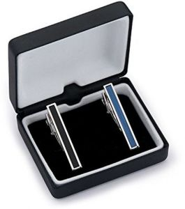 Two Tone Textured Black Blue Tie Clip Set In Gift Box - Bars For Skinny Ties - Classic Fashionable Necktie Pins For Business Professional - Mens Wedding ...