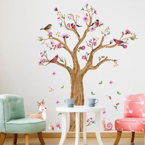 Tree Wall Decals Colorful Tree with Birds Deer Animals Wall Decals,Wall Stickers for Nursery Baby Living Room