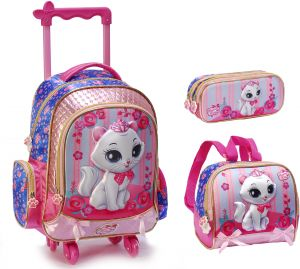 35a1e6d428 3D lovely cat School Bag for 3 - 12 Ages Kids Children girls Backpack  Trolley Bags