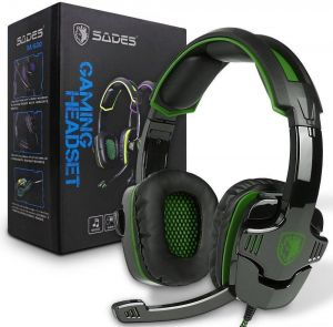 SADES SA-930 3.5mm Stereo Sound Music with Mic Volume Control Gamer  Headphone for PS4 Xbox One Laptop Tablet PC Mobile Black and Green 86dd5a771b