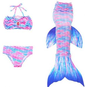 a0d33b4f7a8aa Set of 3 Children Mermaid Tail with Monofin Kids Girls Costumes Swimming  Mermaid Tail Mermaid Swimsuit Flipper for girls(120-130CM)