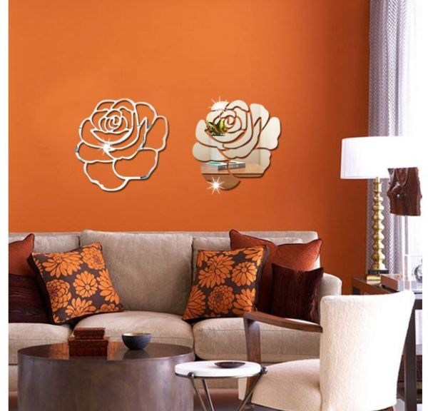 rose flower 3d mirror wall stickers diy home decor living room