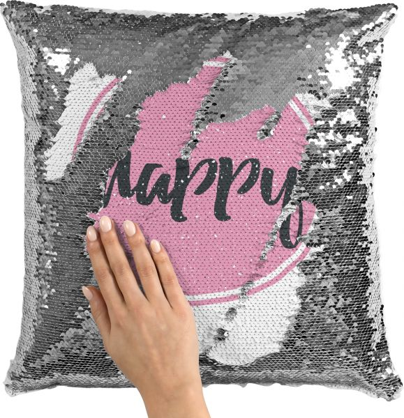 Sequin Throw Pillow Happy Pink Girly Pillow Printed White Silver Cool Girly Decorative Pillows
