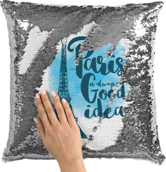 Sequin Throw Pillow Paris Is Always A Good Idea Eiffel Tower Famous